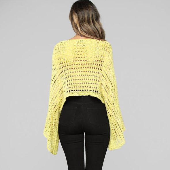 Loose-fitting Hollow Out Knit Top