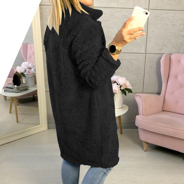 Short Plush Long Sleeve Coat with Pockets