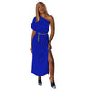 Plain Color One Sholder Long Dress with Side Split