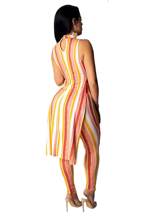 Colorful Stripped Sleeveless Long Top and Leggings