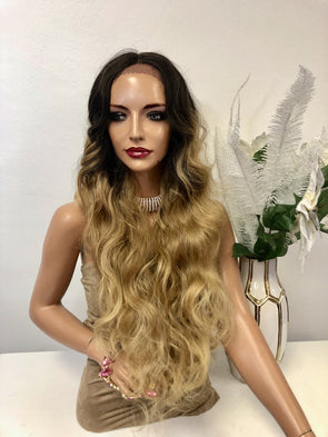 "Ombre Blonde Balayage Volume Waves Long Hair Lace Front Wig 30"" Rae 1218 63"