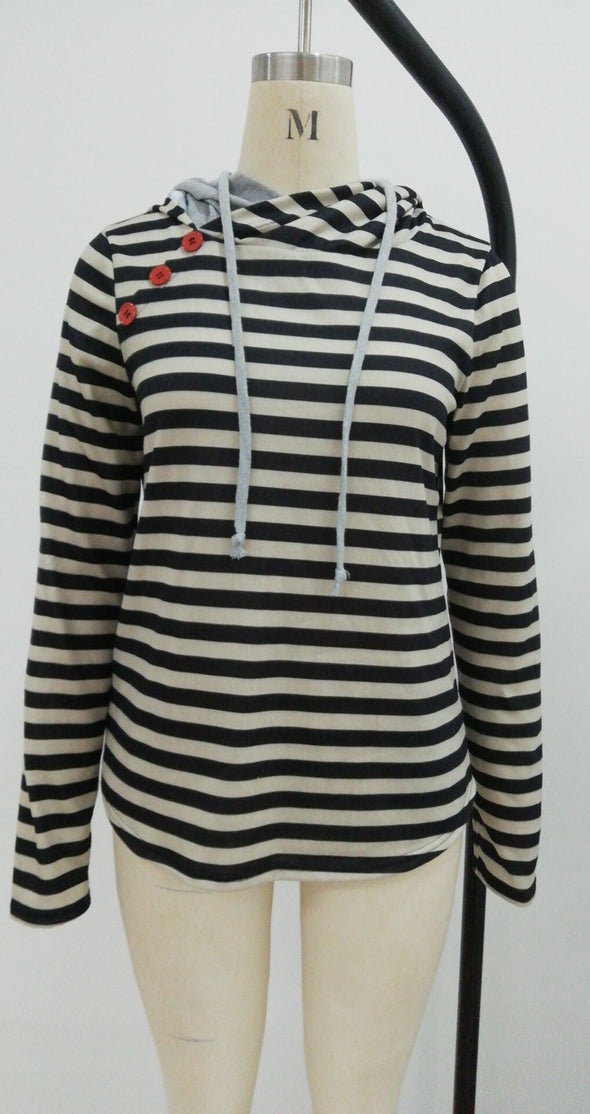 Block Color Stripped Hoody Top