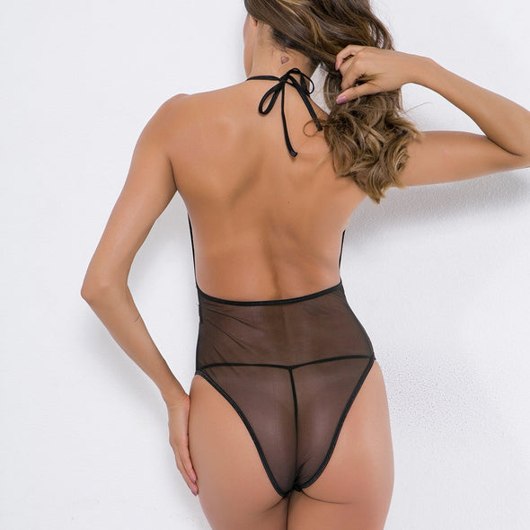 Sexy Black Lace Halter Teddy