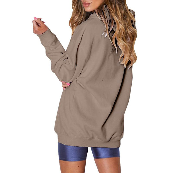 Plain Color Long Sleeve Loose Hoody with Pockets