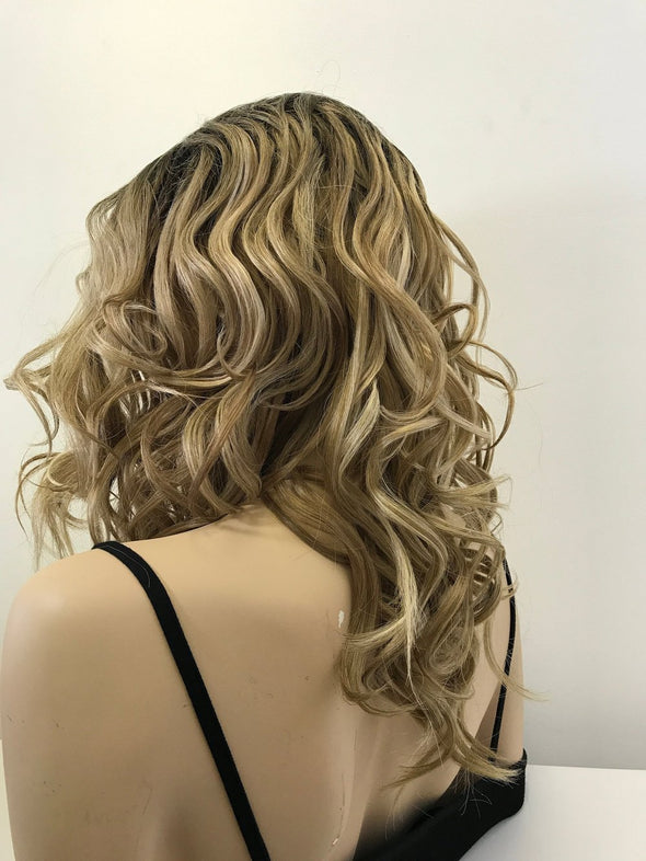 "Blonde Sombre' Side Bang Curls Hair Lace Front Wig 14"" Maria"