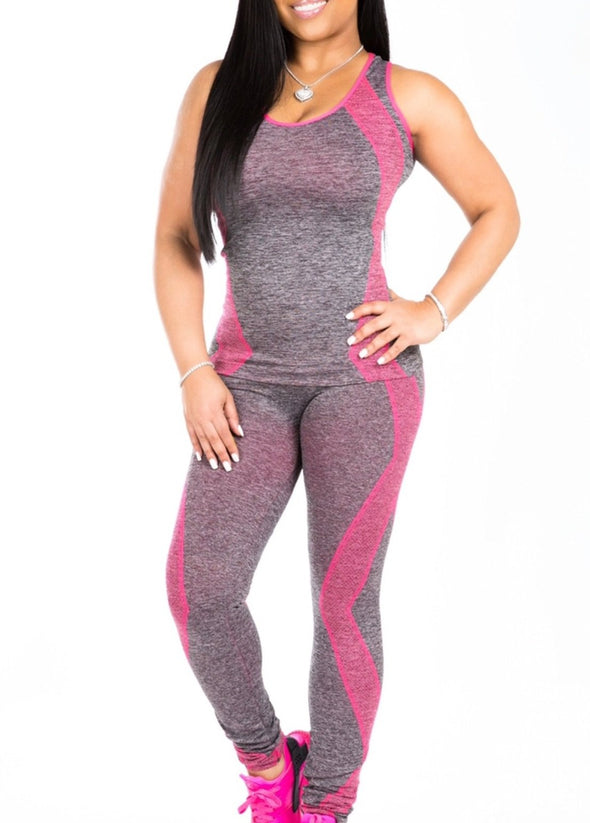 Contrast Fitness Yoga Tank and Leggings