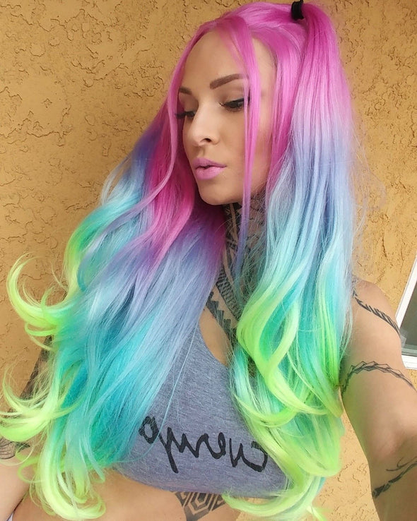 "High quality lace front wig Pastel rainbow 24"" natural hairline"