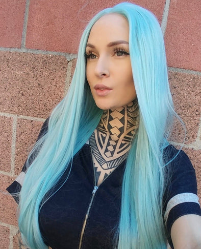 High quality lace front wig Aqua  24″ natural hairline