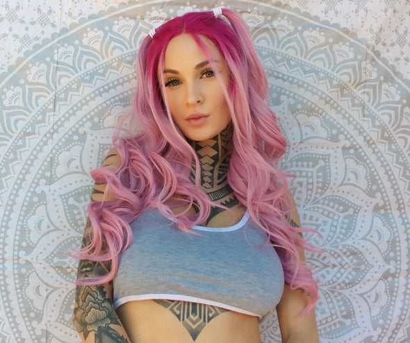 "High quality lace front wig Pink with Fuchsia roots 22"" natural hairline"