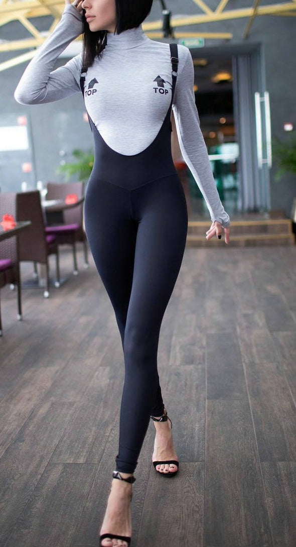 Sexy Black Tight Bib Pants