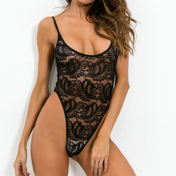 High Cut Sexy Lace Straps Teddy