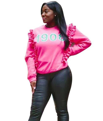 Print Pink Ruffles Sweat Shirt with Sleeves