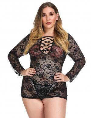 Charming  Women's Black Flower Lace Queen Size Babydolls Long Sleeves Cool Fashion
