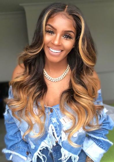 Brown Color Lace Front Wig For Black Women Blonde Long Natural Wave Lace Wig With Natural Hairline Middle Part