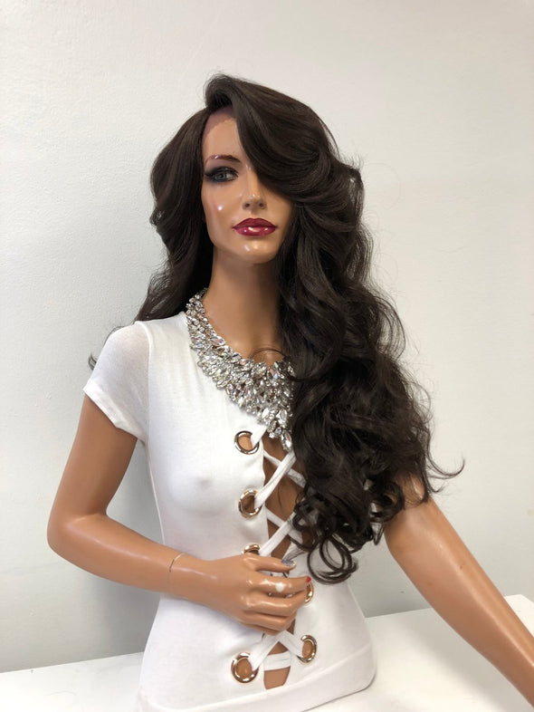 "Brown Long Curly Lace Front Wig | 24"" Happiness 1218 42"