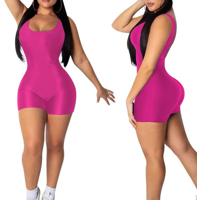 Sports Low Back Sleeveless Tight Rompers