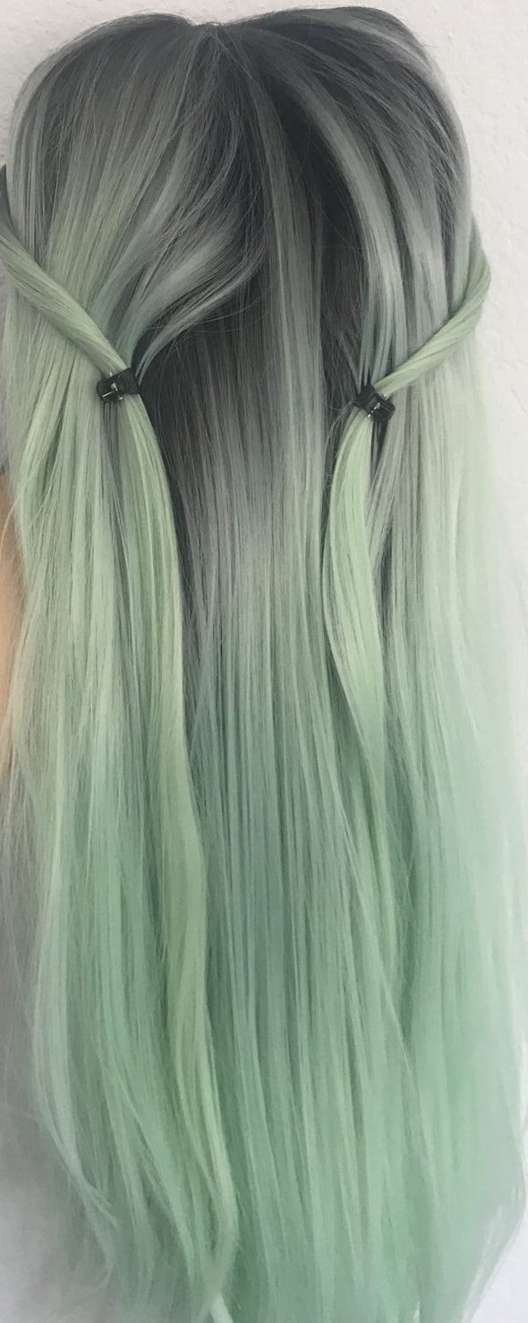 "High quality lace front wig Ombre LIGHT Mint Green, infused with hints of baby blue 24"" natural hairline"