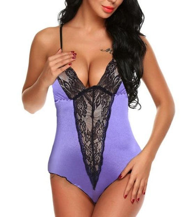 Lace Detailed Straps Silk Teddy