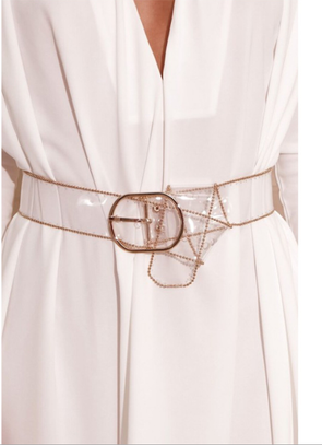 Fashion Baitao Transparent Plastic Belt Baitao Lady's Belt