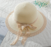 New type of sunscreen straw hat with lace edge and big edge on the beach exploded. Sunscreen Beach Hat with lace and small fresh sunscreen basin hat