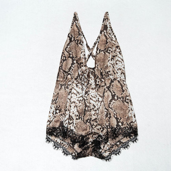 Lace Detailed Leopard Sleeping Rompers