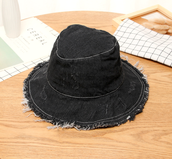 Cowboy Fisherman's hat Female Spring and Summer Sunscreen hat Hair-edged casual basin hat can be folded for outing