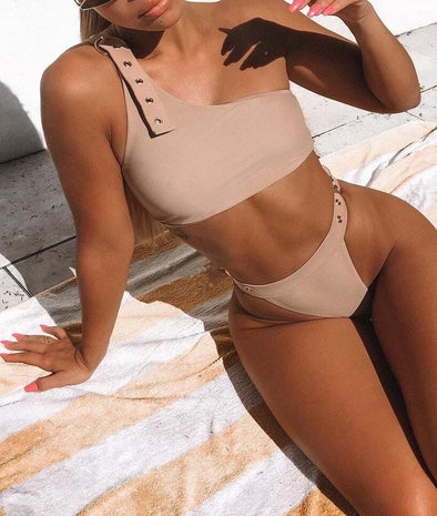 Two-Piece One Shoulder Hooked Swimwear