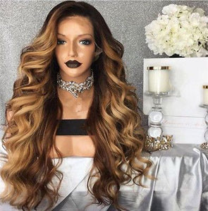 Black Ombre Blonde High Temperature Fiber Peruca Cabelo Deep Long Body Wave Hair Wigs Synthetic Lace Front Wig For Women