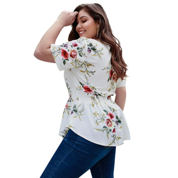 Plus Size Short Sleeve Flower Blouse