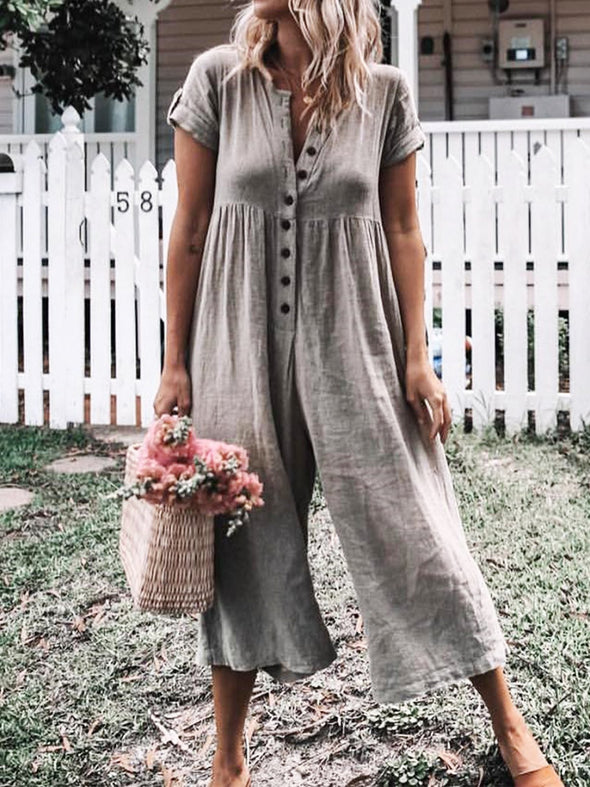 Casual Style Plain Color Short Sleeve Loose Jumpsuit