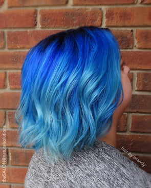 Blue Wigs Lace Frontal Hair 10 Inch Curly Wig Finger Wave Wig Little Mermaid Wig