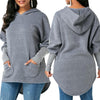 Dark Gray High Low Hoody with Pocket