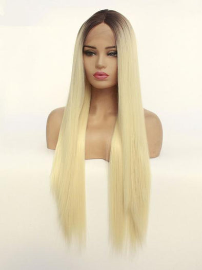 #613 Long Straight Hair Synthetic Hair Full Wigs Blonde Long Silky Straight None Lace Wig Heat Resistant for Beauty Women