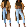 Wide Collar Khaki Long Coat