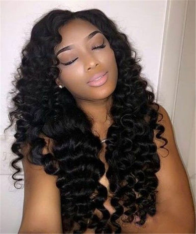 Black Wave Lace Front Wigs Indian Deep Wave Wig