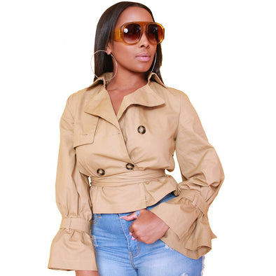 Khaki Short Jacket with Belt