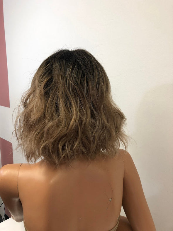 Blonde Balayage Ombre' Short Hair Lace Front Wig 8"