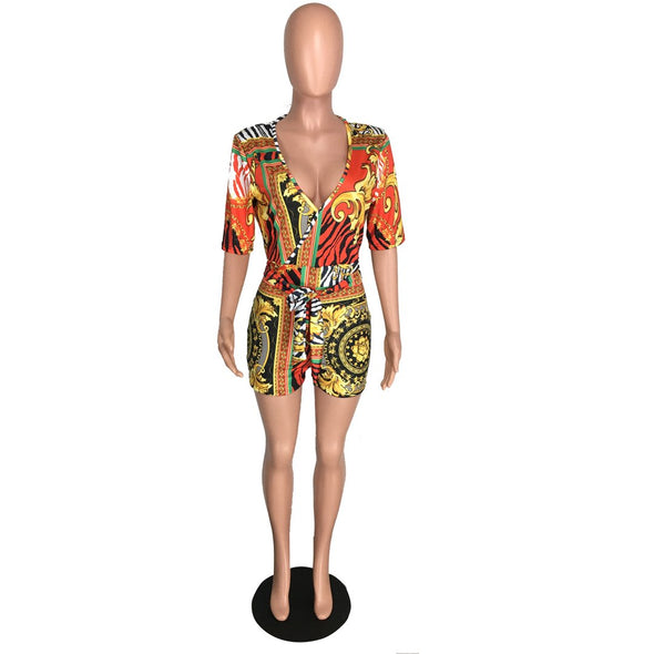 Print Retro Sexy Wrap Rompers with Short Sleeves