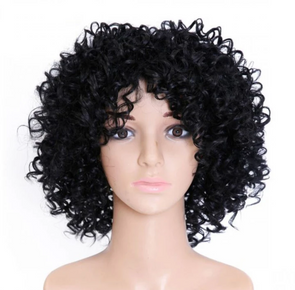 Fashion Lace Wigs Black Straight Hair Wig Charming Black Front Lace Short Curly Wig