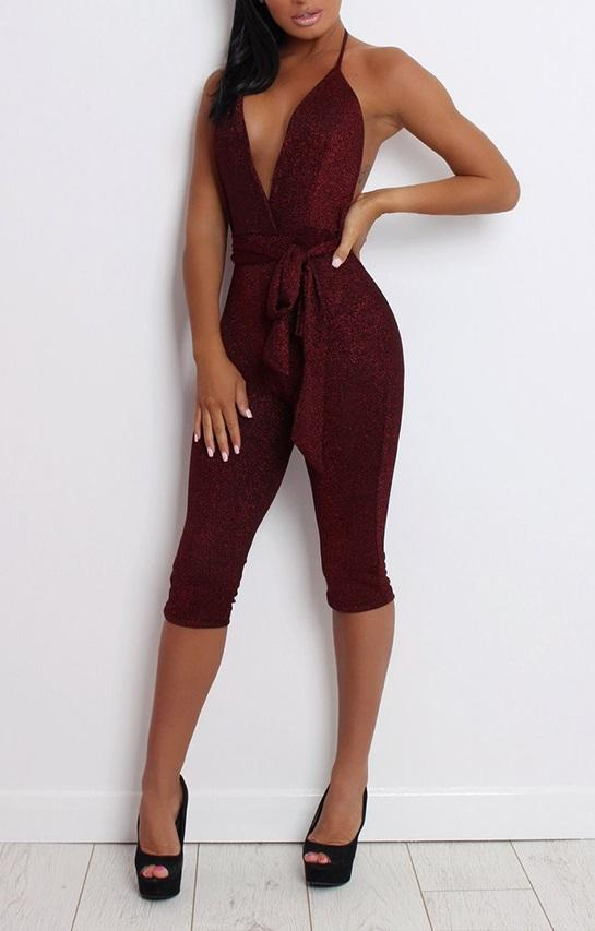 Deep-V Sexy Straps Mid Length Jumpsuit