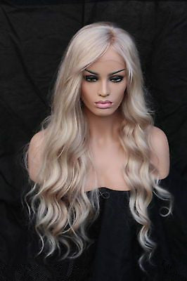Lace Front Wig Blonde Wig Long Hair  HAIR 22 Inchs For Black Women Hair Water Wave Long Ombre Black/Brown Synthetic Wigs African American hairstyle
