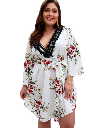 Plus Size V-Neck Flower Dress with 3/4 Sleeves