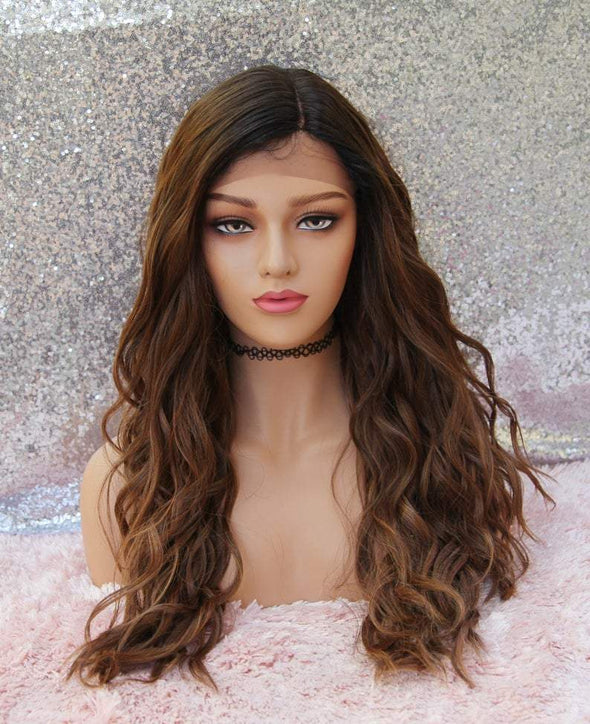 Long Brown Dark Roots Lace Front Wig, Baby Hairs, Natural Part, Heat Safe, Natural Wig, Cosplay Wig