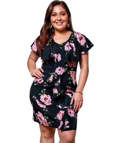 Plus Size Flower Short Sleeve Casual Dress