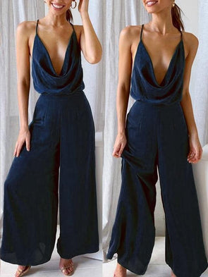 Wide Legges Straps Dripped Jumpsuit