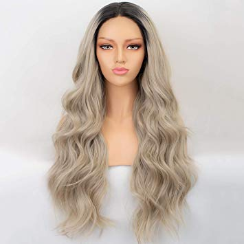 Lace Front Wig Lace Front Synthetic Wig Long Curly Ombre Blonde Wig 42 Inch 613 American  Lace Front Wig 4.9