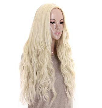 Light Brown Blonde Wig Body Wave Middle Part Heat Resistant Fiber For Black Women Cosplay Long Wig