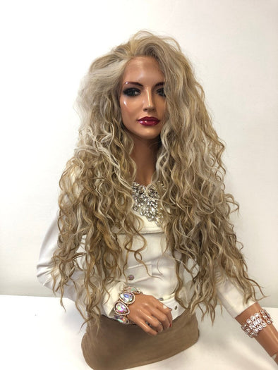 "Blonde  Balayage Volume Waves Long Hair Lace Front Wig 26"" Barbie 01 19"