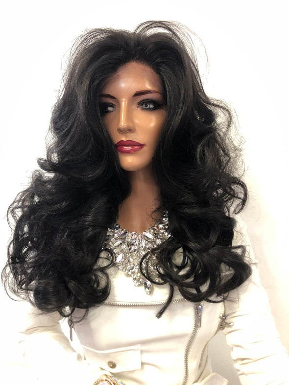 "Dark Brown Volume Curls Long Hair Multi Parting Lace Front Wig 18"" Greenleaf 01 19"