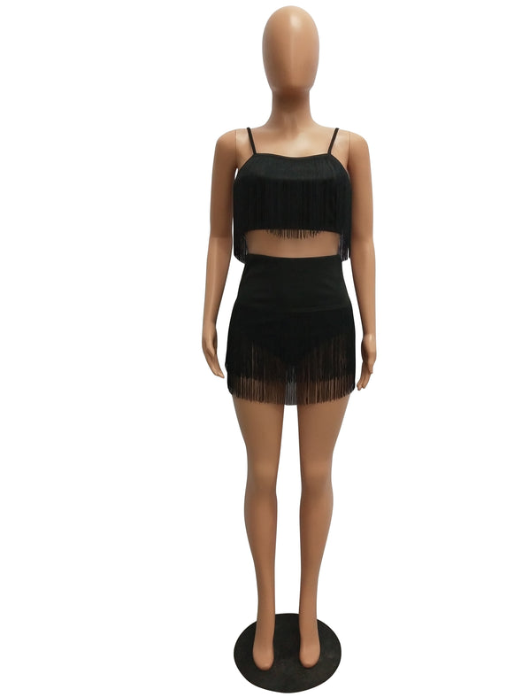 Tassels Straps Crop Top and Shorts
